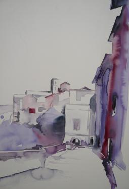Gabriele Templin-Kirz, Südliche Gasse 1, Aquarell auf artiem Malplatte, 60 x 80 cm, Art On Screen - [AOS] Magazine