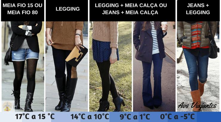 exemplos de combinação meias e calças para frio