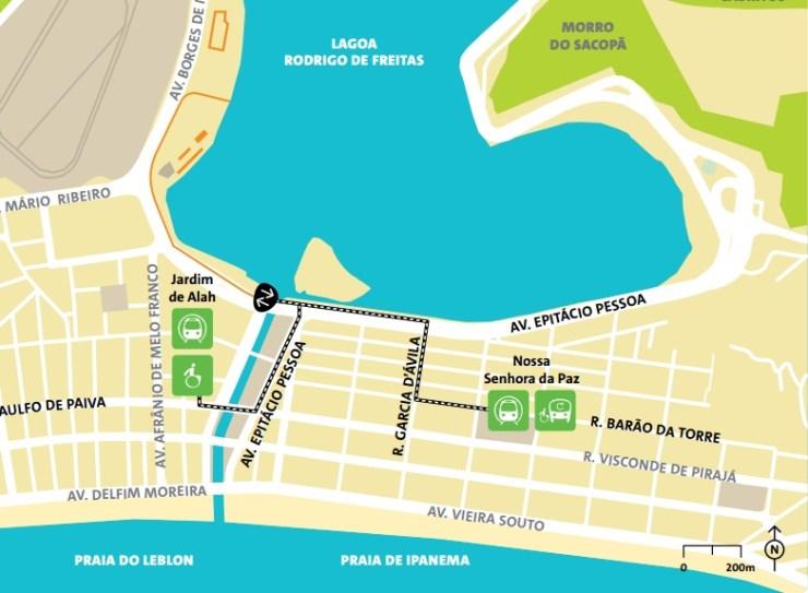 como chegar a copacabana olimpiadas-mapa-lagoa rodrigo de freitas