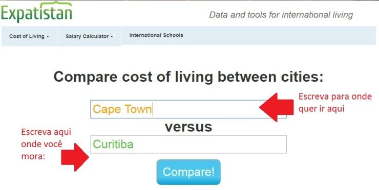 quanto vou gastar na viagem site compara custos expatisian 1