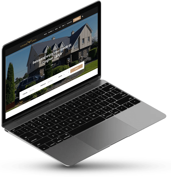 Cloghan Lodge in a laptop screen