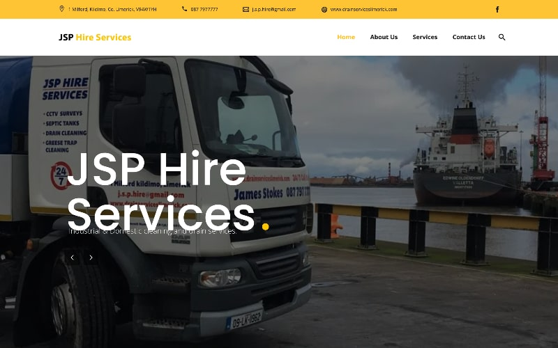 JSP Hire Services homepage