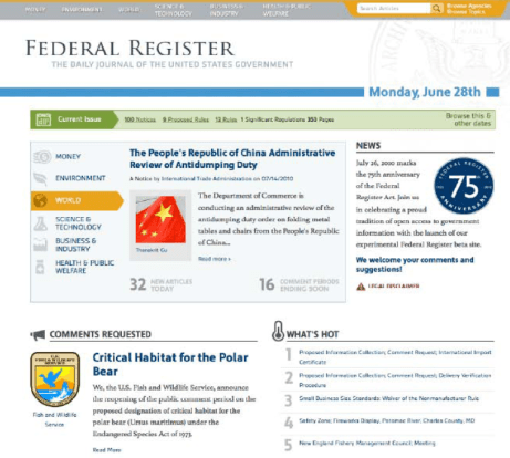 Screen Shot of Federal Register 2.0