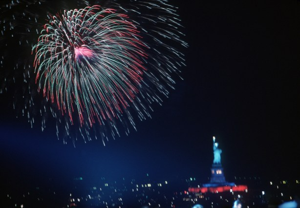 Fireworks display at the Statue of Liberty