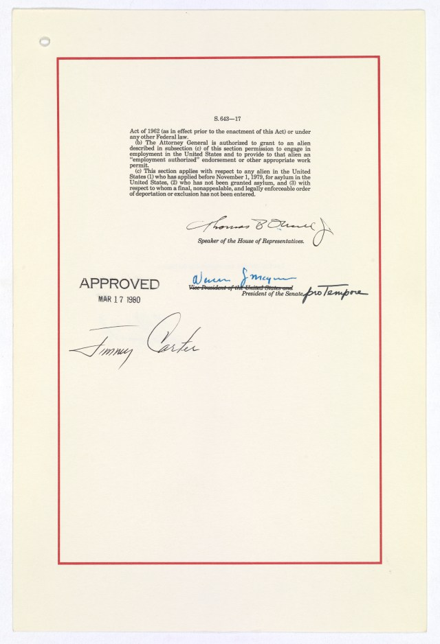 Signature page of The Refugee Act of 1980, approved March 17, 1980 National Archives, General Records of the U.S. Government.