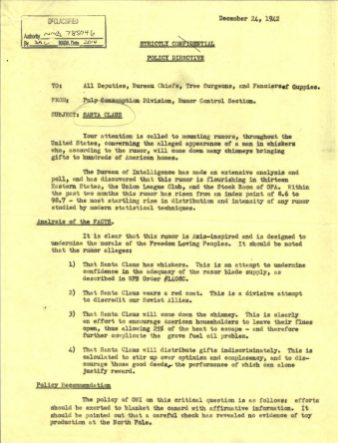 """""""Memo regarding Santa Claus from Pulp Consumption Division, Rumor Control Section to All Deputies, Bureau Chiefs, Tree Surgeons, and Fanciers of Guppies"""" Page 1 of 2"""