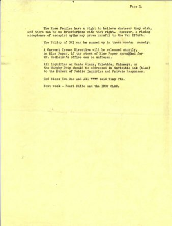 """""""Memo regarding Santa Claus from Pulp Consumption Division, Rumor Control Section to All Deputies, Bureau Chiefs, Tree Surgeons, and Fanciers of Guppies"""" Page 2 of 2"""