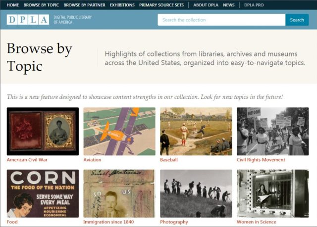 Screenshot of DPLA Browse by Topic page