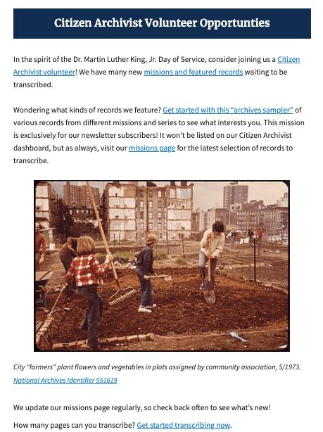 Screenshot of Catalog newsletter issue announcing citizen archivist volunteer opportunities