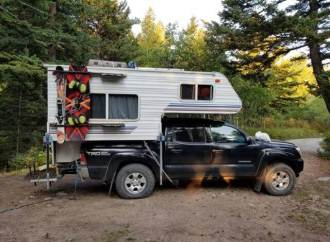 the first night I camped in my new toyota tacoma truck camper was on rock creek just outside of Red lodge montana. had no issues with the DIY camper tie downs I made for less than $15