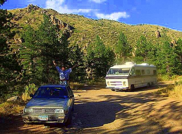 Free camping spot off of Hwy 14 in Northern Colorado right next to Cache La Poudre River. Just outside of Arapaho Roosevelt National Forest. Big enough for a 40 foot class A RV, 1978 VW JEtta and a free campsite. All the reasons we bought an RV in the first place.