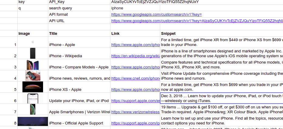google search results in google sheets