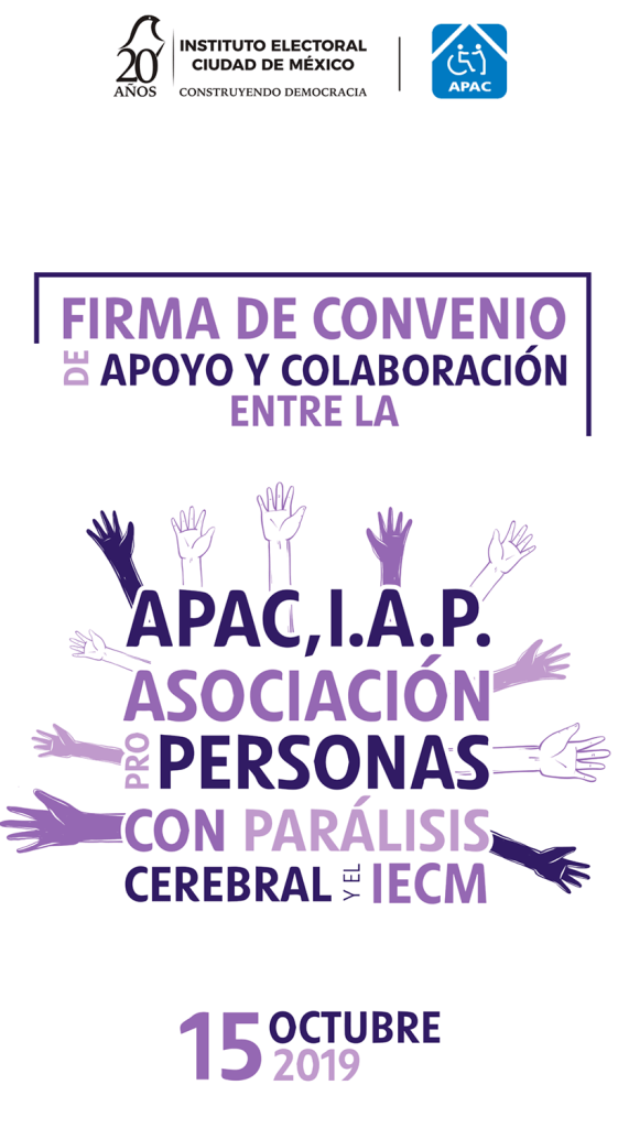 Banner Firma de Convenio de Apoyo y Colaboración entre APAC y el IECM
