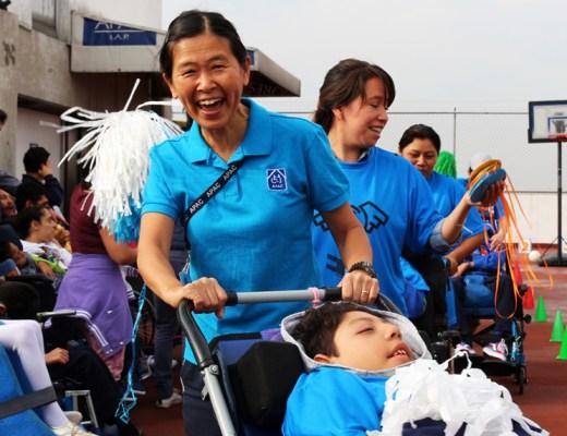 International Volunteer from Japan, Yoko Galeano, during PE class