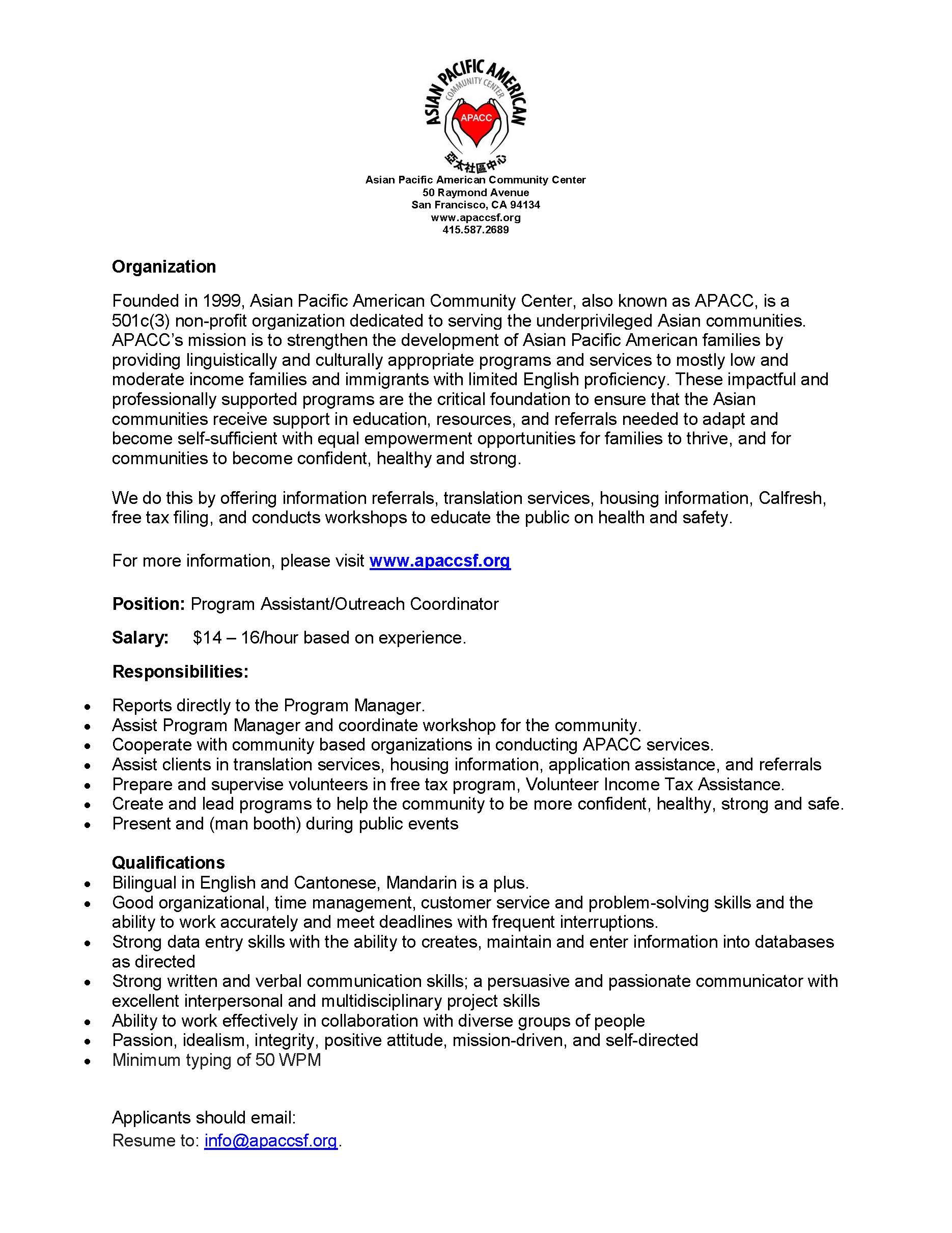Program AssistantOutreach Coordinator  APACC