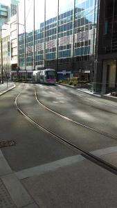 A distant bell means it's the Midland Metro tram in Birmingham City Centre