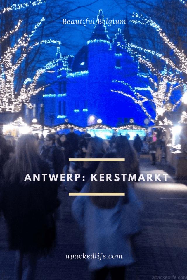 Antwerp Belgium Kerstmarkt with Het Steen beyond