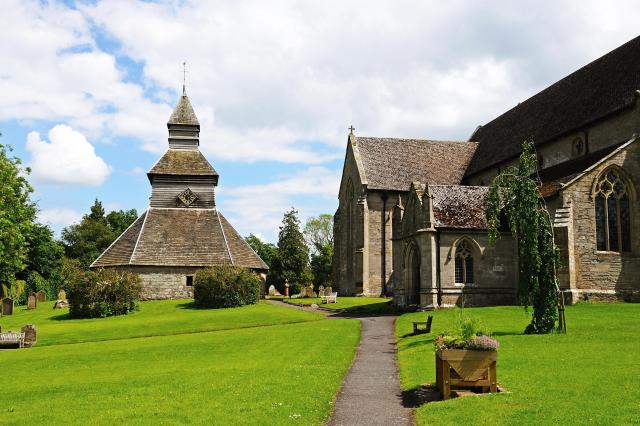 Discovering Herefordshire's Hidden Black And White Villages - St Mary's Church with its separate bell tower, Pembridge, Herefordshire