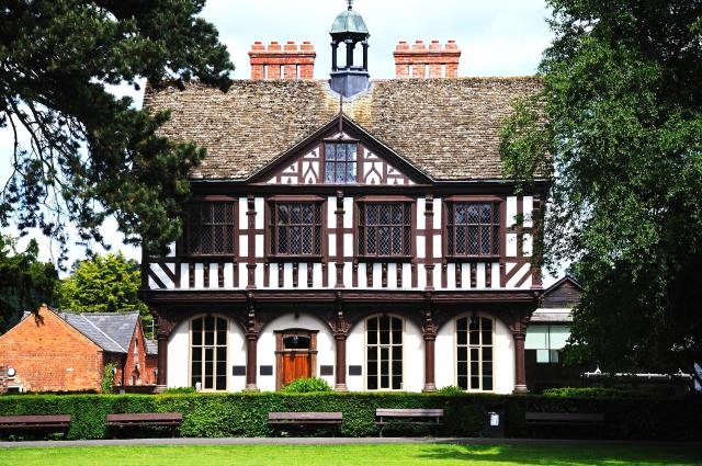 Discovering Herefordshire's Hidden Black And White Villages - Timber framed Grange Court, formerly the Market Hall, Leominster, Herefordshire, Black and White Villages Trail