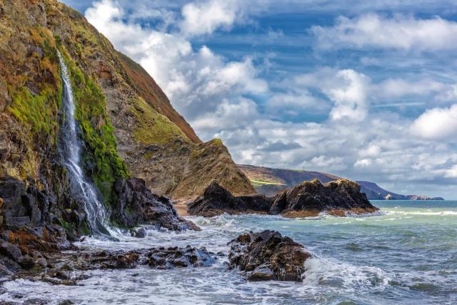 Waterfall at Tresaith Beach, Cardigan Bay