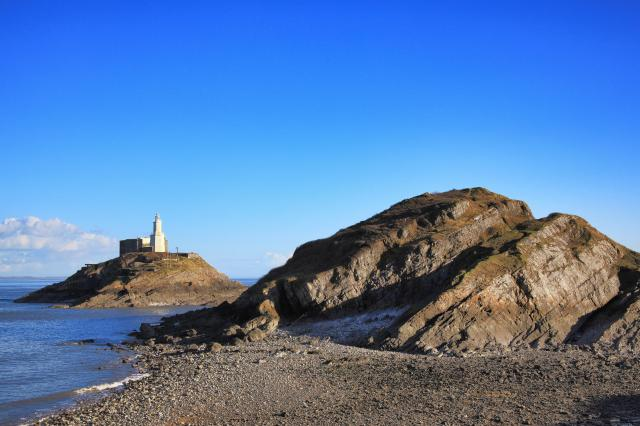 The Mumbles Lighthouse from Bracelet Bay, Gower
