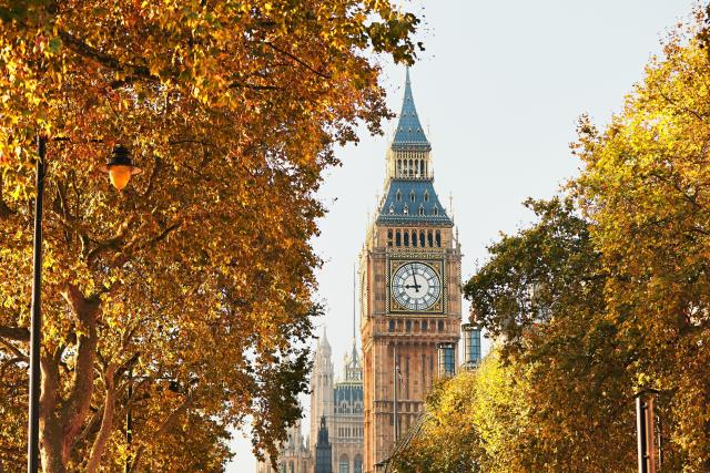 Autumn in England - Big Ben and the Palace of Westminster, London
