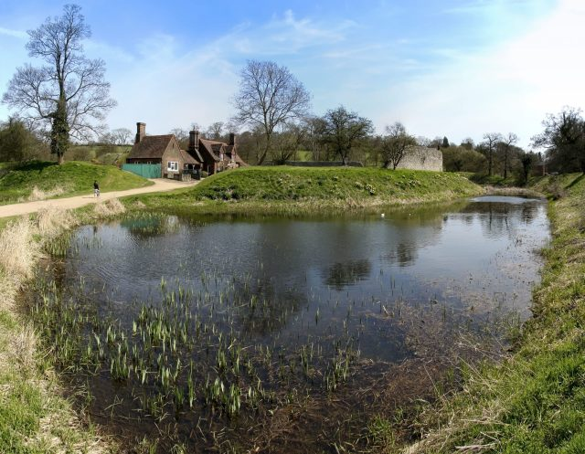 Castles near London - moat and ruins of Berkhamsted Castle, Hertfordshire