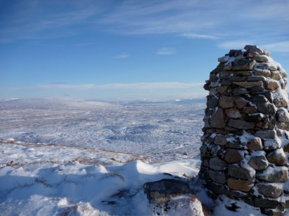 From the WHW cairn viewpoint looking east - cant tell the snow from the ice or any water