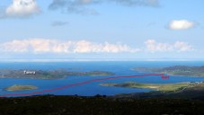 The first hour of our paddle, as viewed from Ben Mor