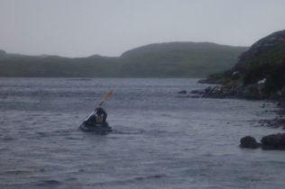 Slacker sets off across Loch Poll