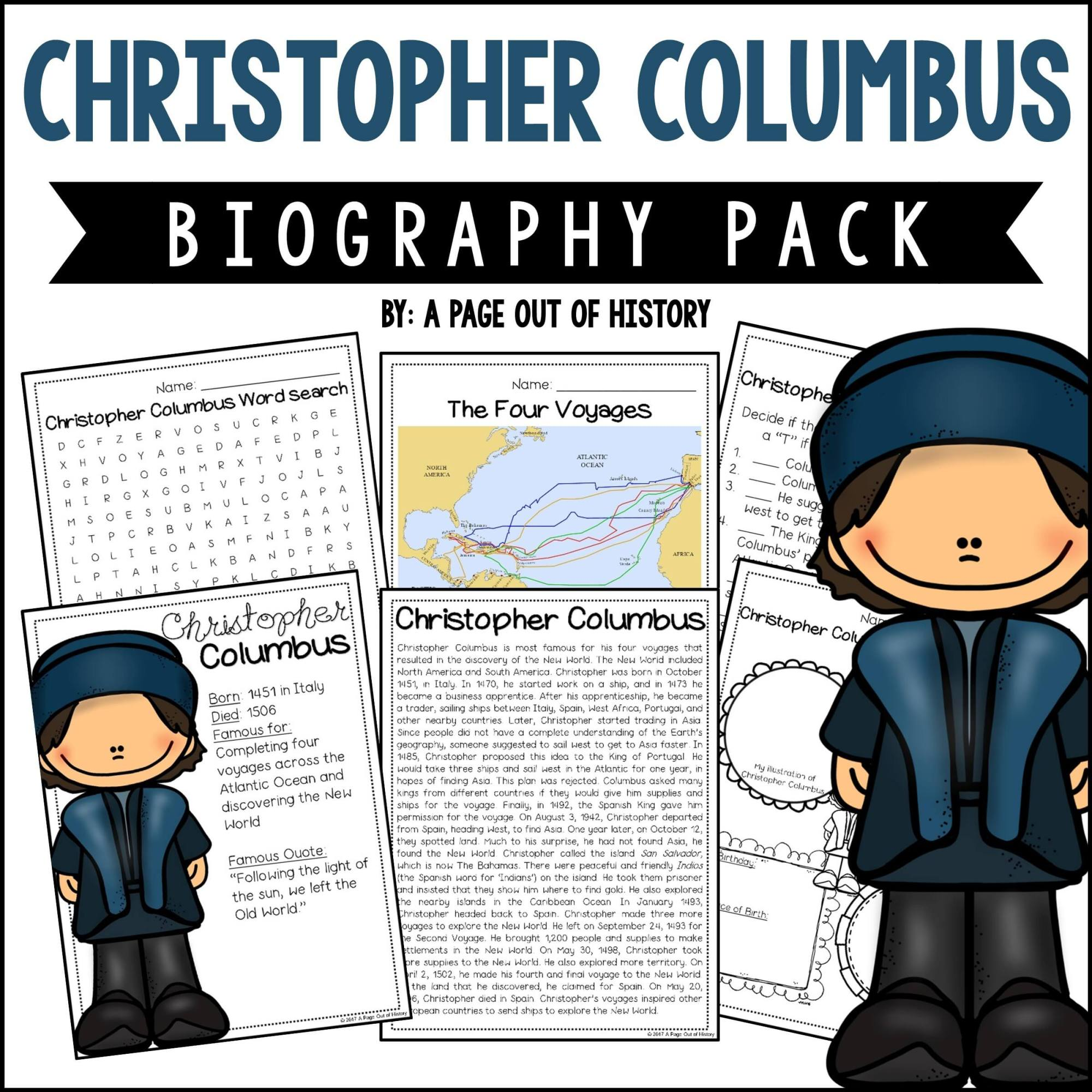 hight resolution of Christopher Columbus Biography Pack (New World Explorers) - A Page Out of  History