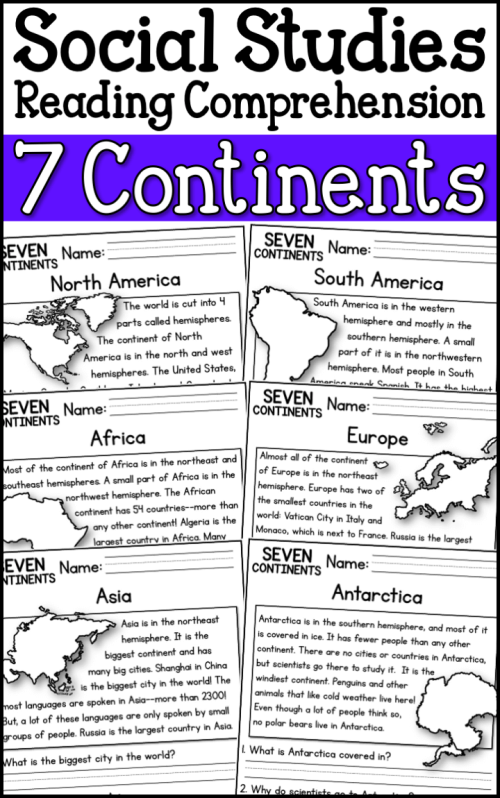 small resolution of 7 Continents Reading Comprehension Passages (K-2) - A Page Out of History