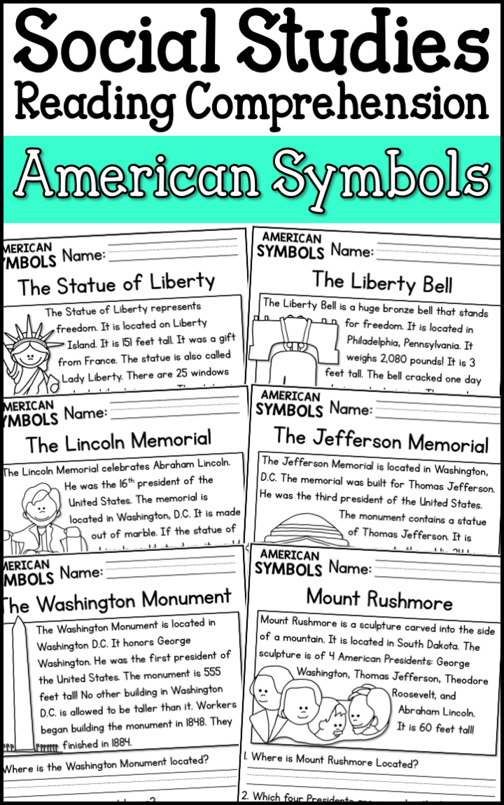 medium resolution of American Symbols Reading Comprehension Passages (K-2) - A Page Out of  History