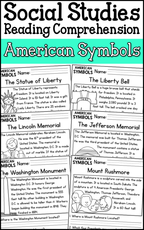 small resolution of American Symbols Reading Comprehension Passages (K-2) - A Page Out of  History