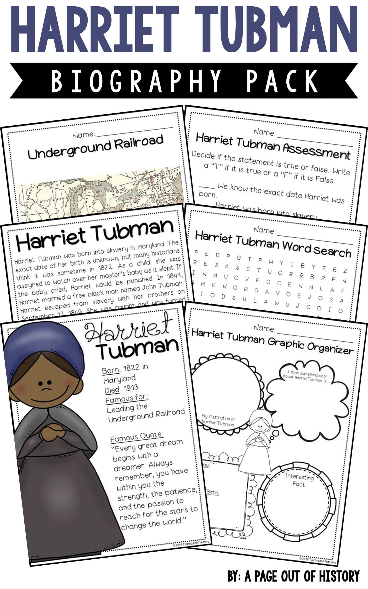 hight resolution of Harriet Tubman Biography Pack (Black History Month) - A Page Out of History
