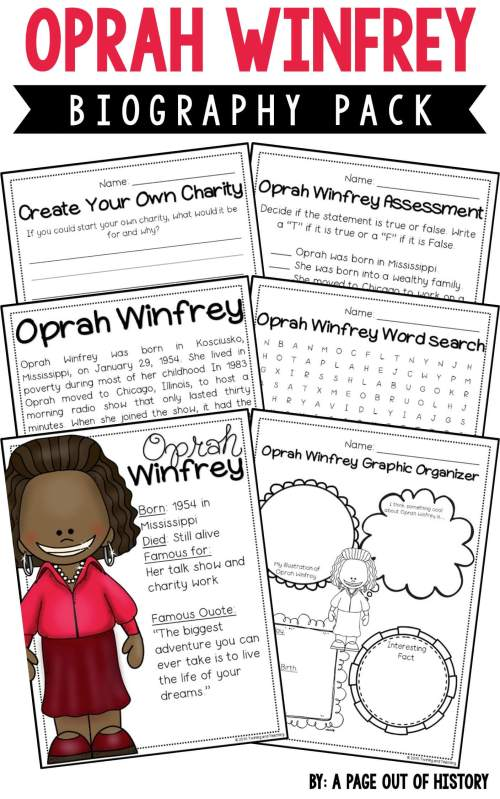 small resolution of Oprah Winfrey Biography Pack (Women's History) - A Page Out of History