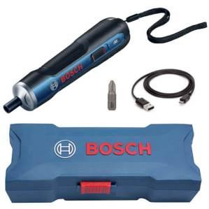 Parafusadeira Bosch Go com todos os seus acessórios.