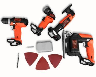 Kit de ferramentas GoPak da Black+Decker com 4 máquinas na cor laranja + acessórios.