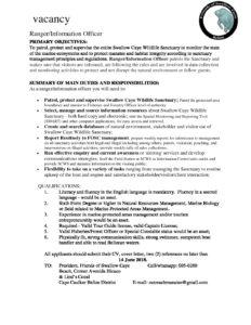 thumbnail of Ranger & Information Officer 2018 Vacancy