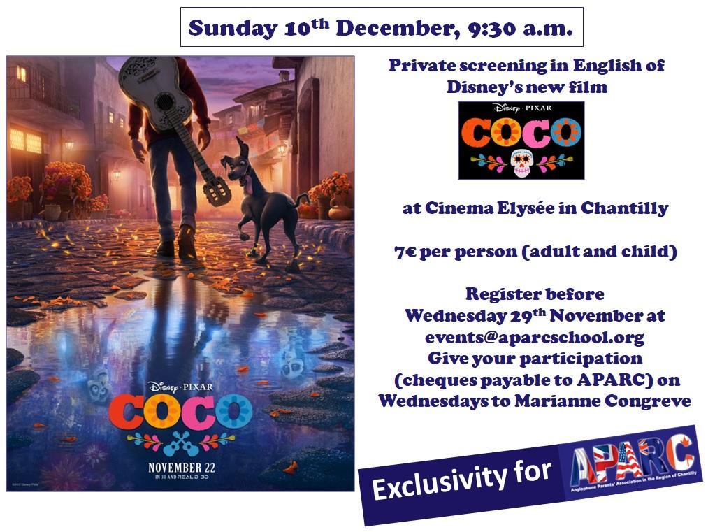 Private screening in English of Disney's new film - COCO