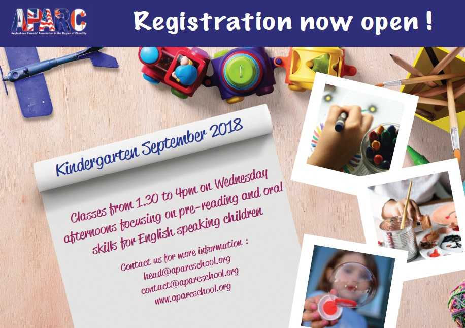 Anglophone Parents' Association in the Region of Chantilly: Kindergarten class registration now open for September 2018