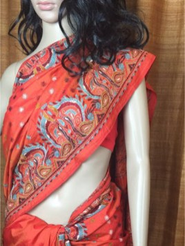 The Shantineketan Collection Flame-Orange Kantha On Soft Rich Silk.