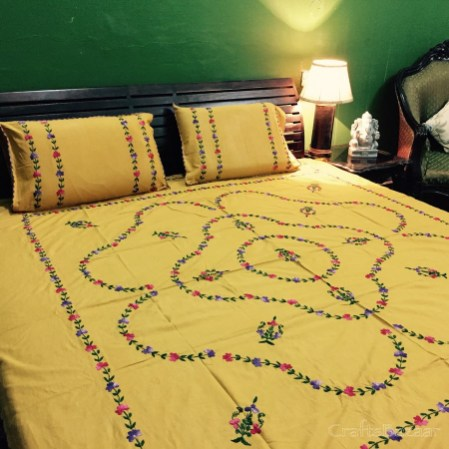 Floral Tribute Calcutta Red On Mustard Yellow; Double Bedcover