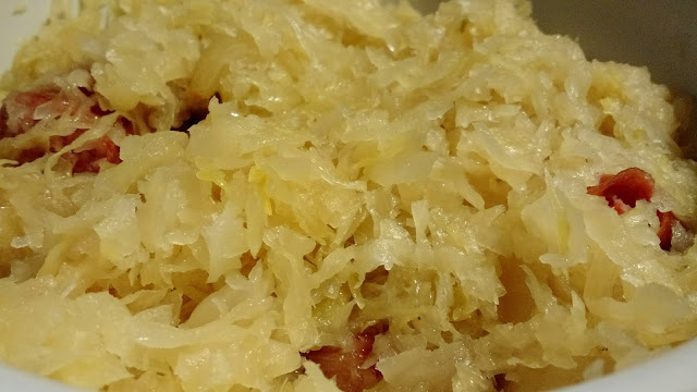 I mixed it up a little at the end, and I got pieces of sausage to fall off and mix into the sauerkraut.