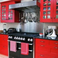 Red Small Kitchen decor mod  Apartment Geeks