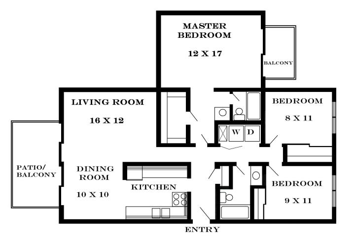Average square footage of a 3 bedroom 1 bath house for Square footage of 2 bedroom apartment