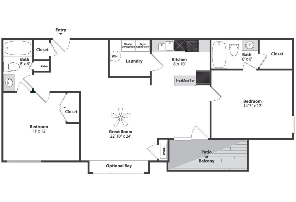 Two Bedroom Split Floor Plan