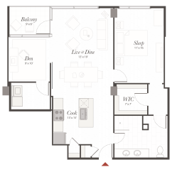 Stainless Steel Kitchen Packages Sink Rug B3 Floor Plan - 1 Bedroom With Den Apartment | Cincinnati, Oh