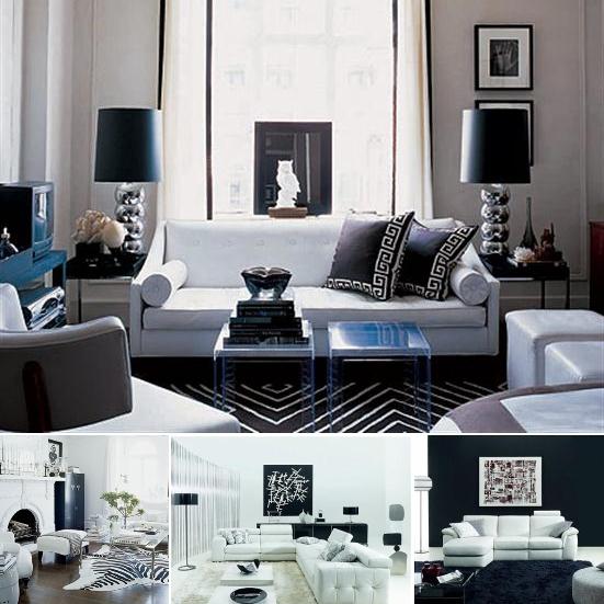 black and white living room interior design White and Black Room Ideas | Apartments i Like blog