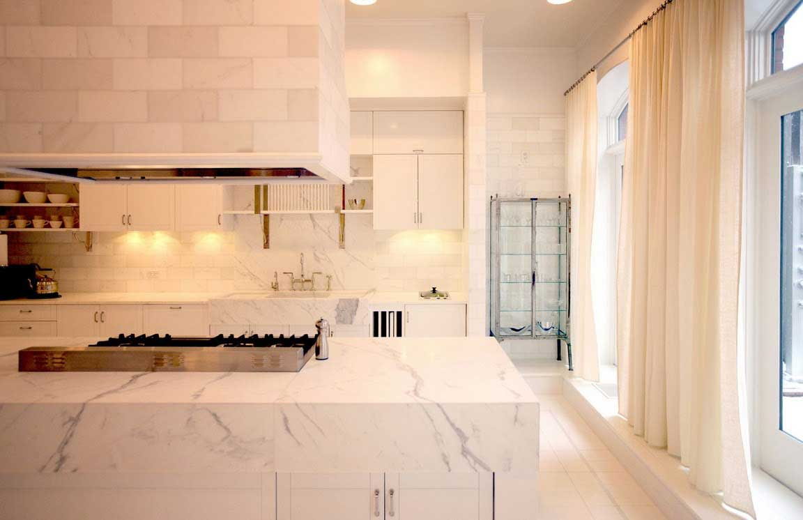 the kitchenlove the marble the soft curtain panels over french windows - Manhattan Kitchen Design